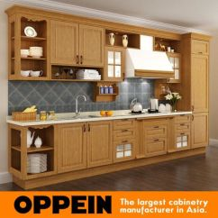 Cheap Kitchen Cabinet Sets White Buffet China Red Oak Solid Wood Wholesale Modular Cabinetry Op15 S07