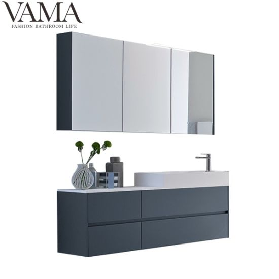Vama 1500mm Italian Modern Navy Blue Bathroom Vanity With Mirror Cabinet With Light Lb 001 China New Design Bathroom Vanity Bathroom Furniture In Foshan Made In China Com