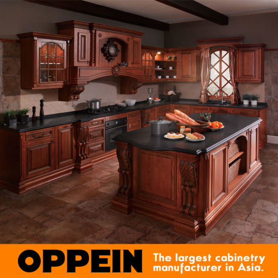 China Hot Sale Classic Solid Wood Luxury Kitchen Cabinets With