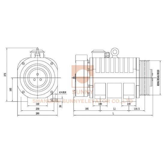 China Elevator Traction Machine for Machine Room-Less (SN