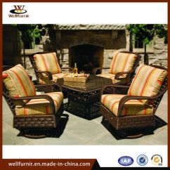 Swivel Chair Sofa Set Moon Saucer China 4 Seater Outdoor Leisure Dining With Table Wf 050016