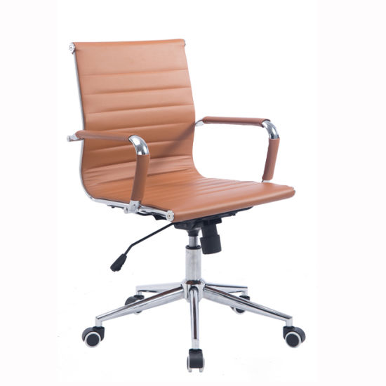 swivel chair em portugues cool chairs for kids china modern mid back ribbed upholstered pu leather office computer orange