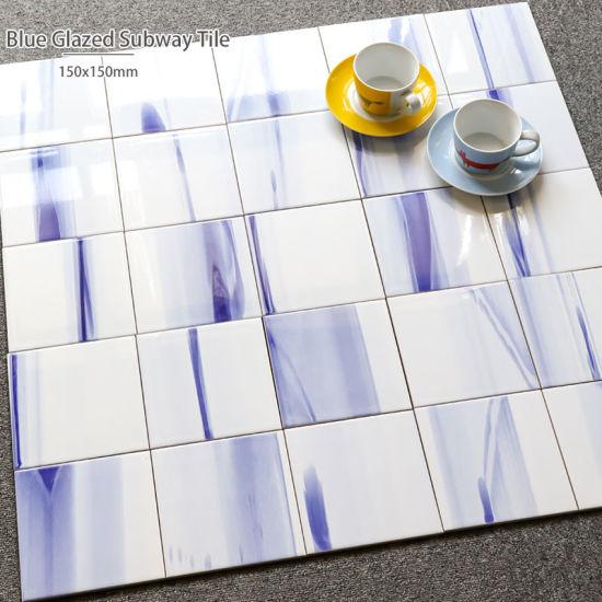 6x6 inch size bathroom interior wall decoration blue ceramic tile