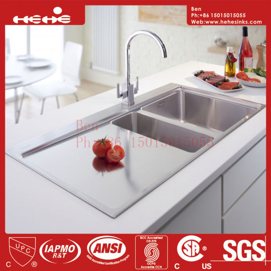 kitchen sinks with drain boards industrial island china board handmade sink stainless steel top mount double bowl