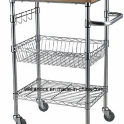 Wire Kitchen Cart Wine Racks China Removable Diy Shelf With 38mm Thickness Bamboo Top And Hooks Rails Pictures