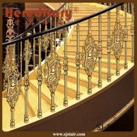 China Hotel Gold Color Curved Stair Railing Aluminum