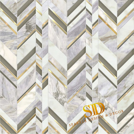 brass waterjet marble mosaic tile