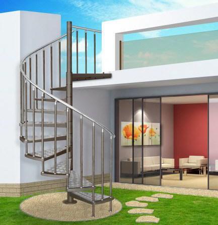 China Modern Outdoor Steel Staircase Design Galvanized Spiral | Modern Stairs Design Outdoor | Indoor | Prefab Metal Residential Exterior | Terrace | Metal | Railing