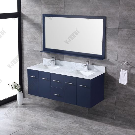 60inch Double Sinks Navy Blue Solid Wood Bathroom Vanity China Large Storage Hangzhou Made In China Com