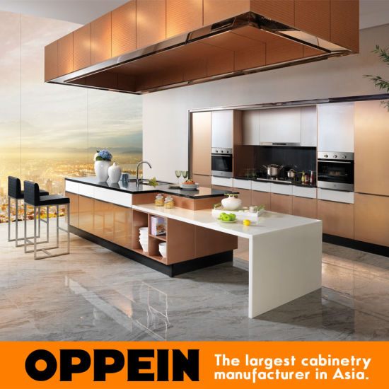 China Hot Sale Oppein Gold Metal Foil Kitchen Cabinet OP14 067