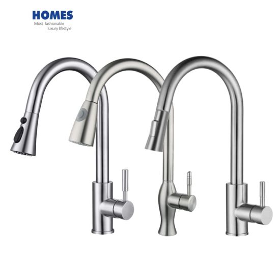 sink mixer tap kitchen faucet chrome sus304 stainless steel 360 degree rotation single holder pull out sprayer swivel mixer spout dual sprayers