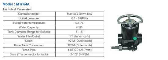 China Run Xin Manual Softener Valve for RO Water Filter