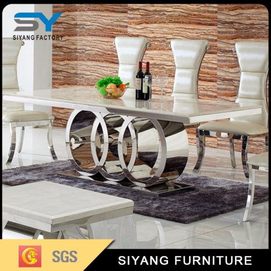 China Home Furniture Modern European Dining Table Set Restaurant Marble Table China Table Modern Furniture