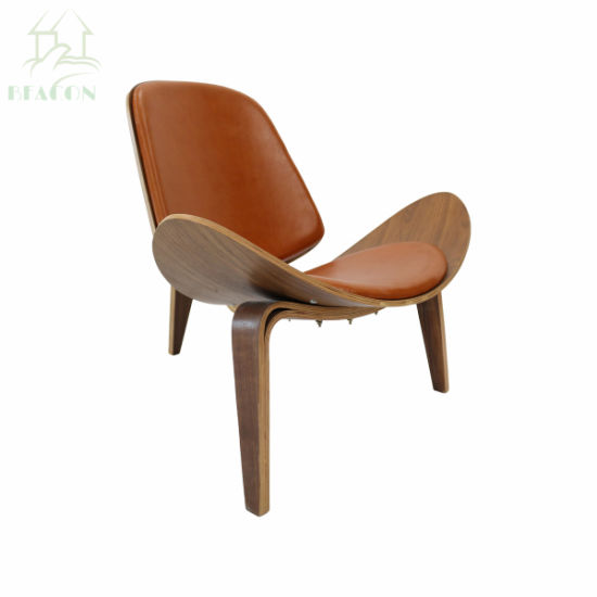 shell chair replica swivel papasan china hans j wegner with brown leather seat