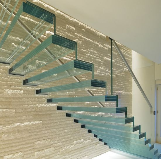 China Glass Floating Staircase With Clear Glass Handrail Railing   Clear Handrails For Stairs   Steel   Clear Acrylic   Wood   Riser   Metal