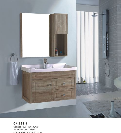80cm Wide Wood Grain Color Pvc Bathroom Vanity China 800mm Wide Bathroom Cabinet Floating Bathroom Cabinet Made In China Com