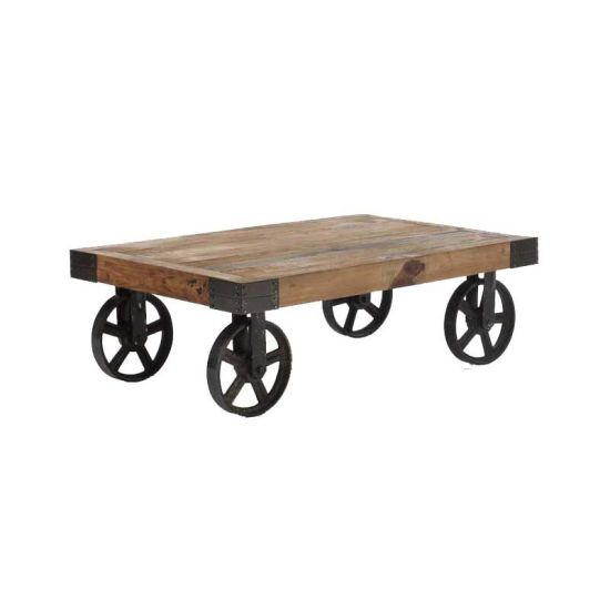 industrial rustic cart coffee table