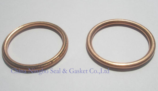 solid flat copper exhaust gasket red color