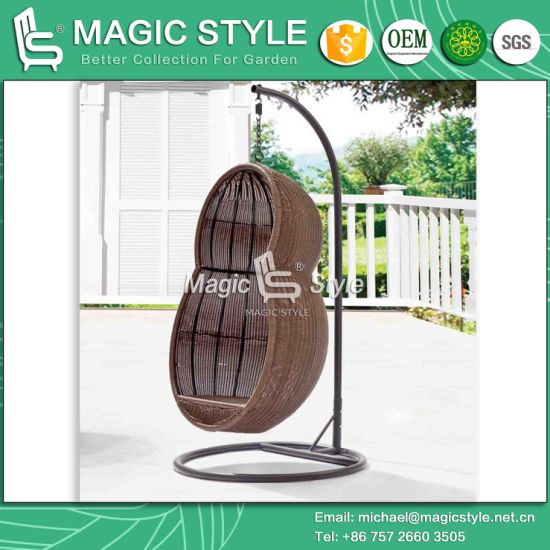 outdoor wicker swing chair egg chairs cheap china peanut shape with cushion patio hammock magic style