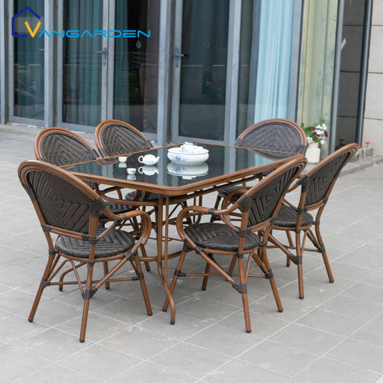 6 seater patio wicker table and peacock chair outdoor furniture