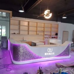 China Luxury Modern Fancy Design Square Shape LED Translucent Bar Counter for Club Coffee China Bar Counter Restaurant Bar Counter