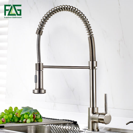 brass faucet kitchen models china flg amazon warehosue spray tall brushed nickle tap