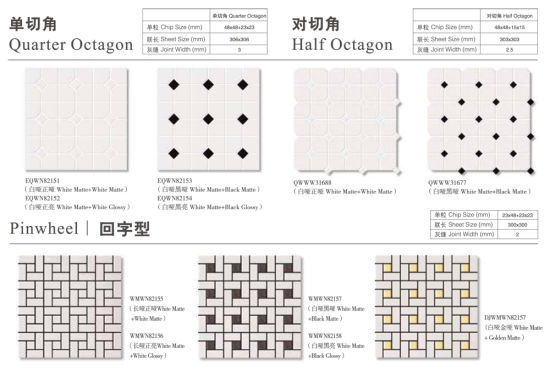 interior wall bathroom floor design black dot white ceramic octagon mosaic tile