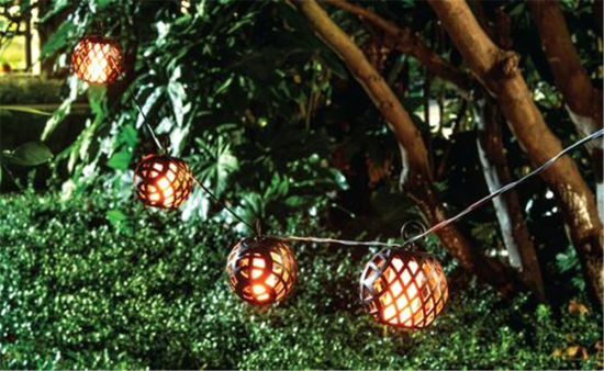 solar string lights led outdoor flame