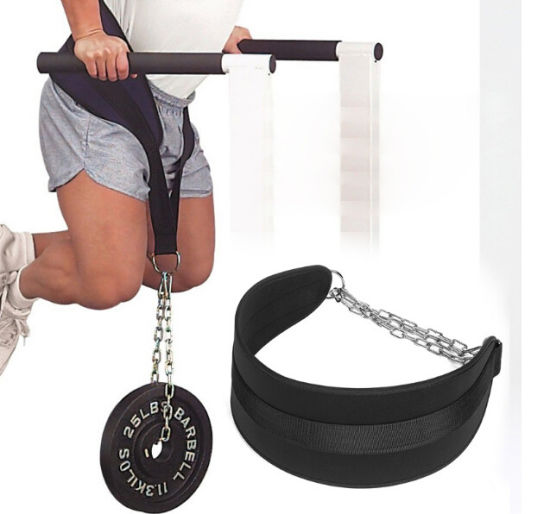 Dipping Belt Weight Lifting Dip Belt With Chain Pull Ups Back Support Leather