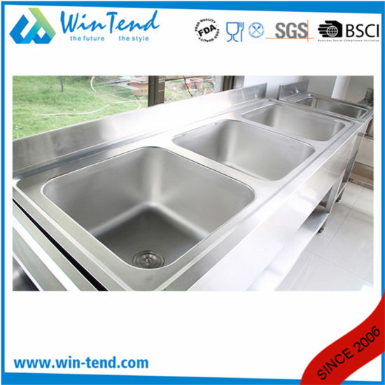 triple sink kitchen cabinet refacing mississauga china commercial stainless steel workbench wash basin