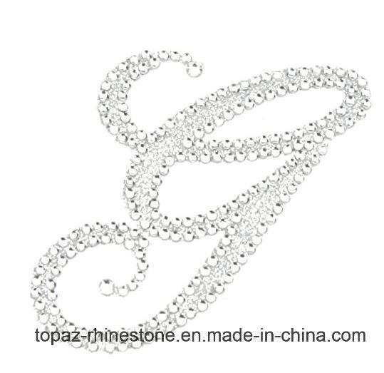 China Fashion Rhinestone Alphabet Monogram Stickers Letter