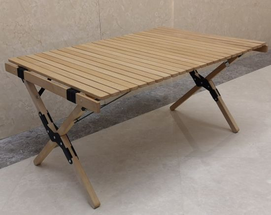 wooden roll up table for outdoor picnic