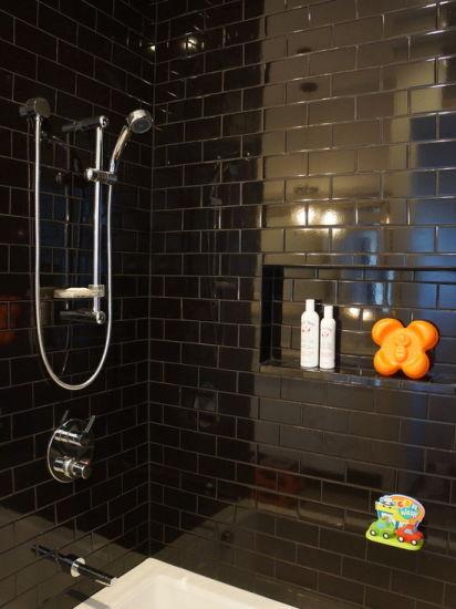 3 x6 7 5x15cm black glossy bevel subway tiles for kitchen backsplash bathroom wall