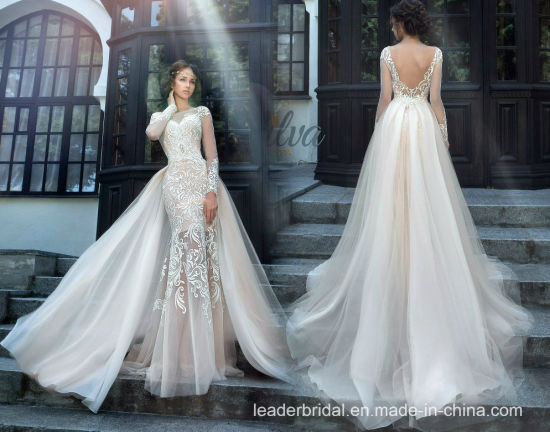 China Lace Bridal Gowns Mermaid Long Sleeves Wedding