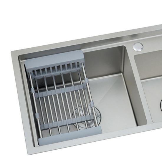 korea 16gauge 8245cm rectangular clip installation one two wash basin drop in wash stainless steel sink white handmade with vegetale drain board