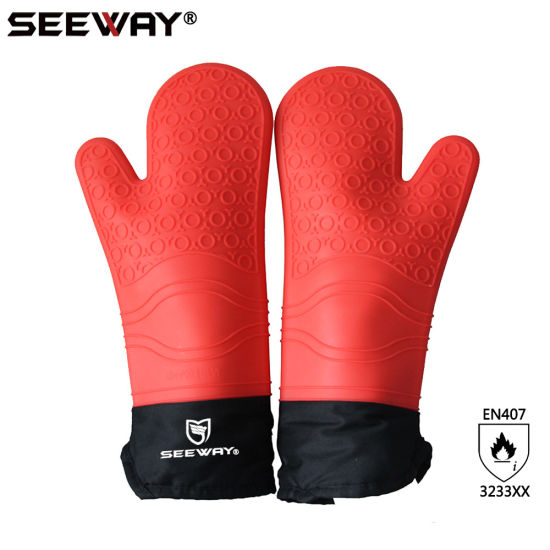 kitchen mittens white backsplash pictures china seeway womens red silicone waterproof cooking