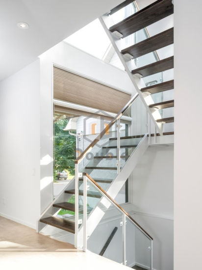 China Customized Glass Railing Wood Tread Staircase White China   White Wood Stair Railing   Timber White   Build Stair   Metal   Glass   Before And After