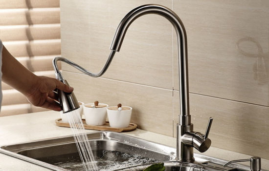 china pullable sprayer hot cold water