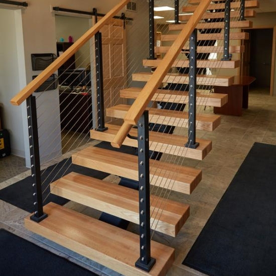 China Indoor Usage And Straight Stairs Stair Type Building | Hardwood Steps For Stairs | Modern White Oak Stair | Cover | Iron Baluster | Unfinished | Staircase