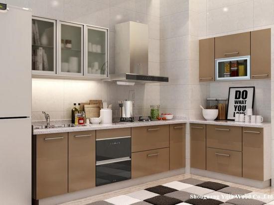 China Oppein Modern Light Wood Grain L Shaped Kitchen Furniture China Kitchen Cabinets Kitchens