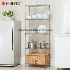 Cheap Kitchen Storage Bay Window Curtains China 5 Tier Nsf Adjustable Metal Wire Rack Shelves Pictures Photos