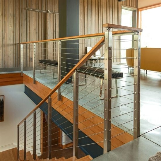 Modern Stainless Steel Cable Stair Railing Wire Railing For | Modern Cable Stair Railing | Stainless Steel Stair | Railing Systems | Glass Railing | Entry Foyer | Staircase Remodel