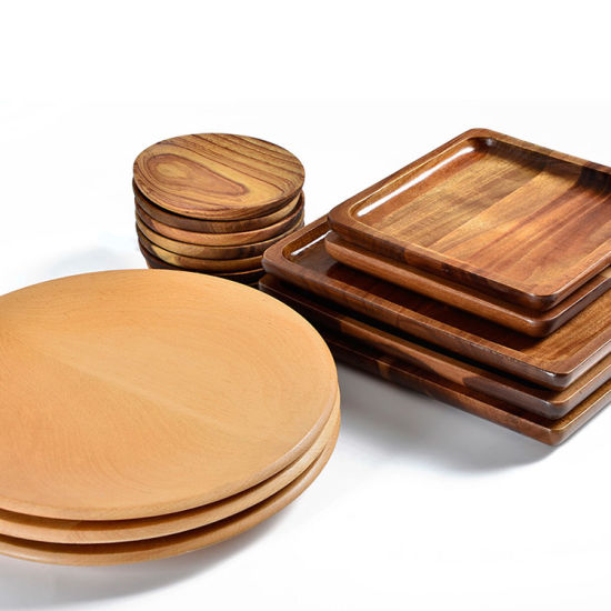 kitchen china dishes painted round table wood fruit plates rectangular tray cake holder wooden