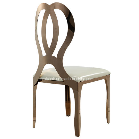 steel chair gold black wood dining room chairs china infinity stainless wedding 621y