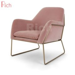 Velvet Armchair Pink Taupe Dining Chairs Uk China Metal Frame Leisure Chair In Living Room Pictures Photos