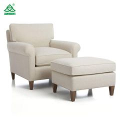 Living Room Chair With Ottoman Steel Material China High Quality Elegance Fabric Hotel Single Sofa Modern Furniture