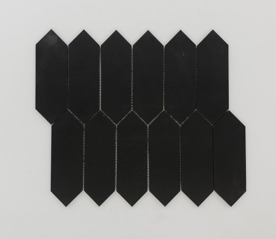 picket shape marble long hexagon marble black mosaic for wall tile
