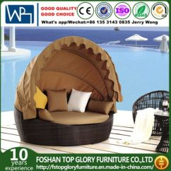Canopy Daybed Outdoor Wicker Sun Sofa Lounge Studio Apartment Sectional Sofas China Rattan Round Bed With Tglu 11