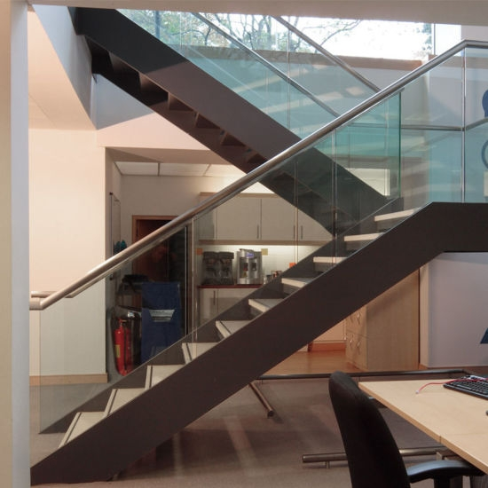 China Low Cost Steel Plate Stringer Straight Glass Stair With | Cost Of Glass Balustrade Stairs | Wood | Side Clamp | Steel Bracket | Spiral Staircase | Stainless Steel