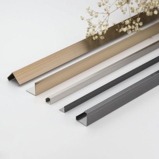 cheap decorative l shape straight edge stainless steel tile edging trim